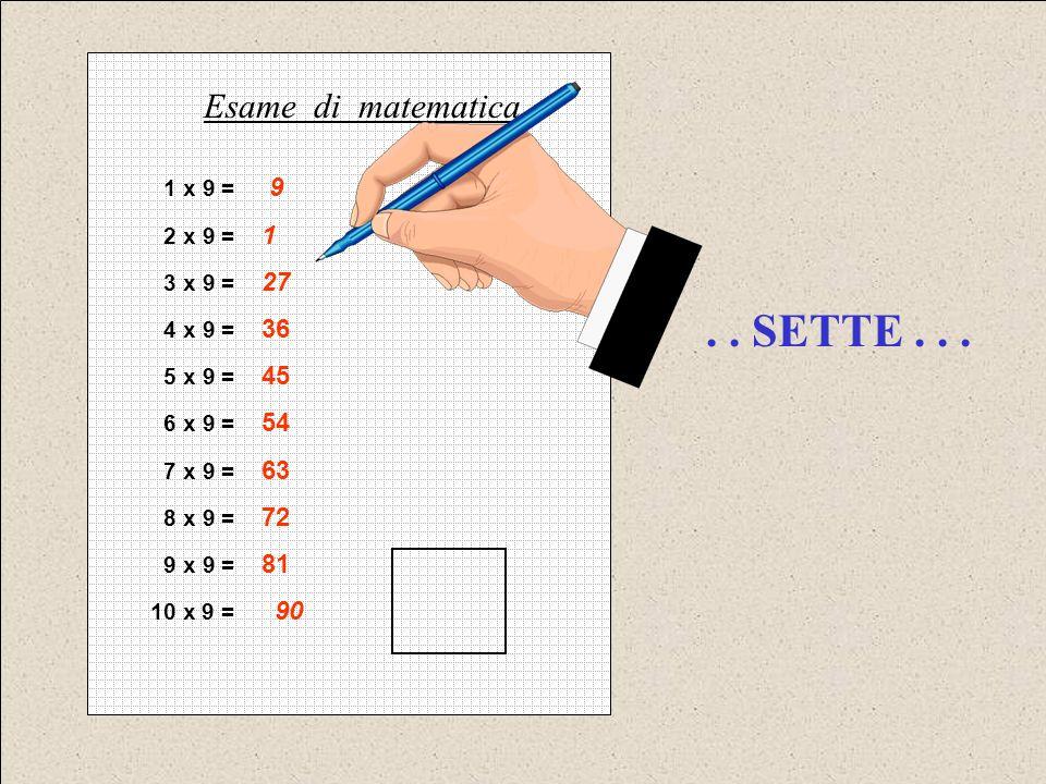. . SETTE . . . Esame di matematica 1 x 9 = 9 2 x 9 = 1 3 x 9 = 27