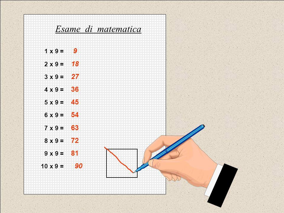 Esame di matematica 1 x 9 = 9 2 x 9 = 18 3 x 9 = 27 4 x 9 = 36