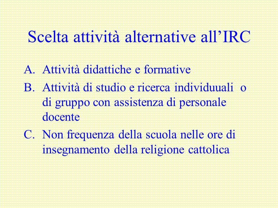 Scelta attività alternative all'IRC