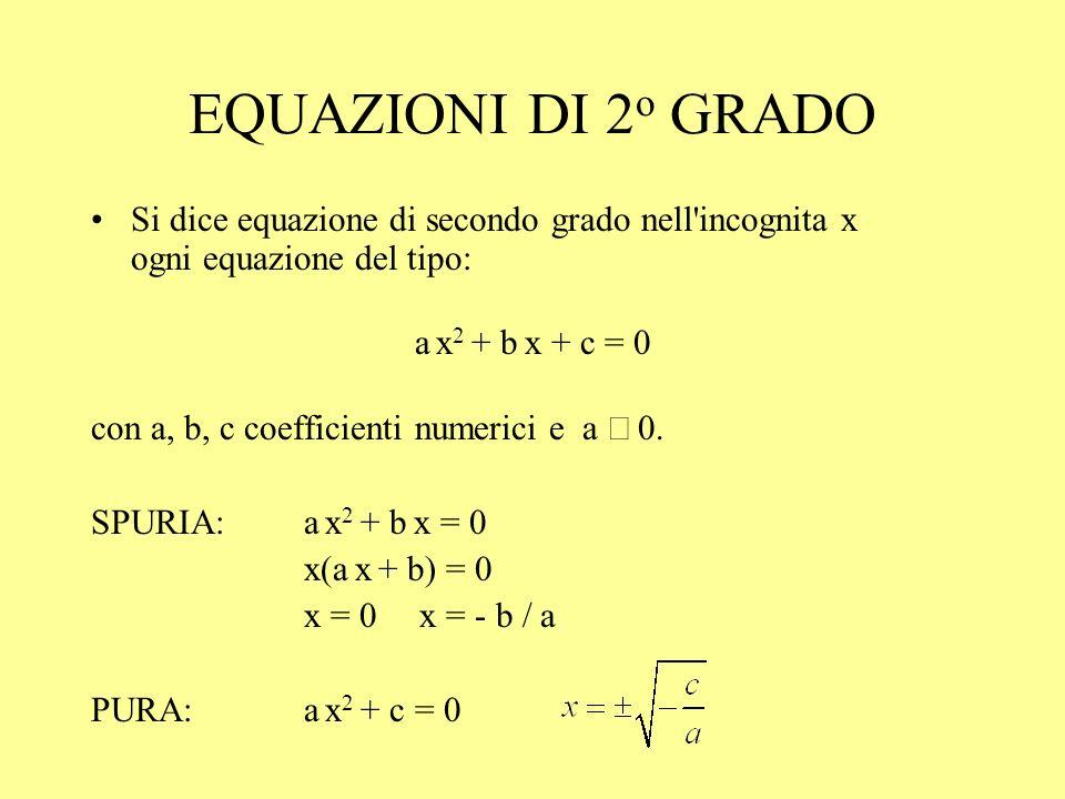 EQUAZIONI DI 2o GRADOSi dice equazione di secondo grado nell incognita x ogni equazione del tipo: a x2 + b x + c = 0.