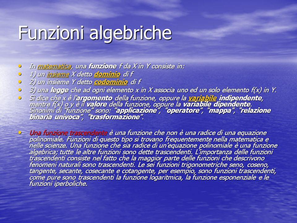 Funzioni algebriche In matematica, una funzione f da X in Y consiste in: 1) un insieme X detto dominio di f.