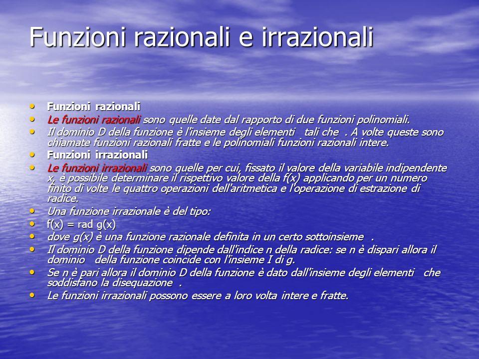 Funzioni razionali e irrazionali