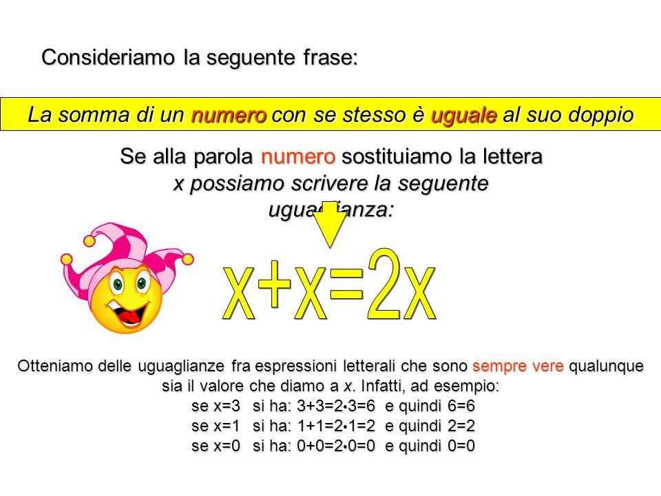 x+x=2x Consideriamo la seguente frase: