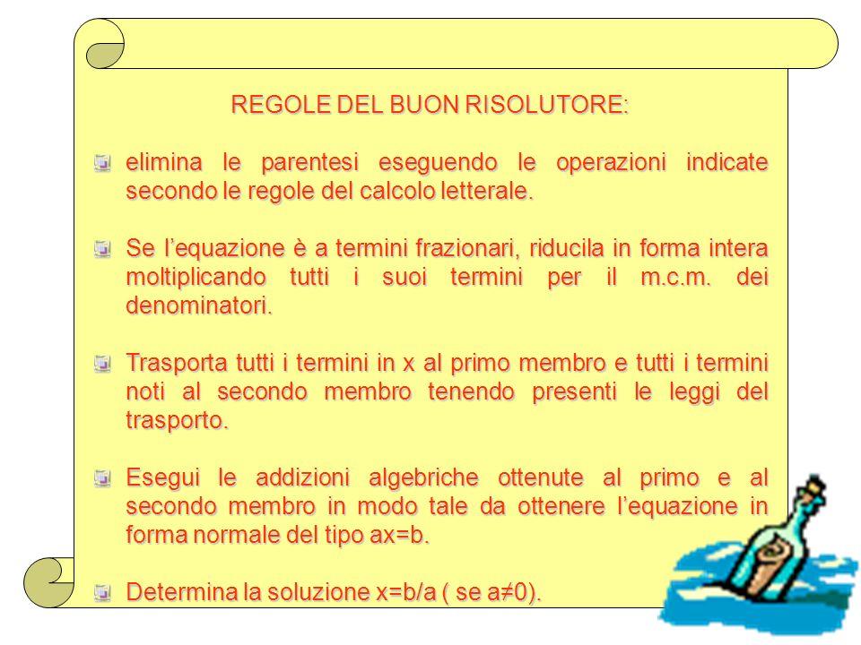 REGOLE DEL BUON RISOLUTORE:
