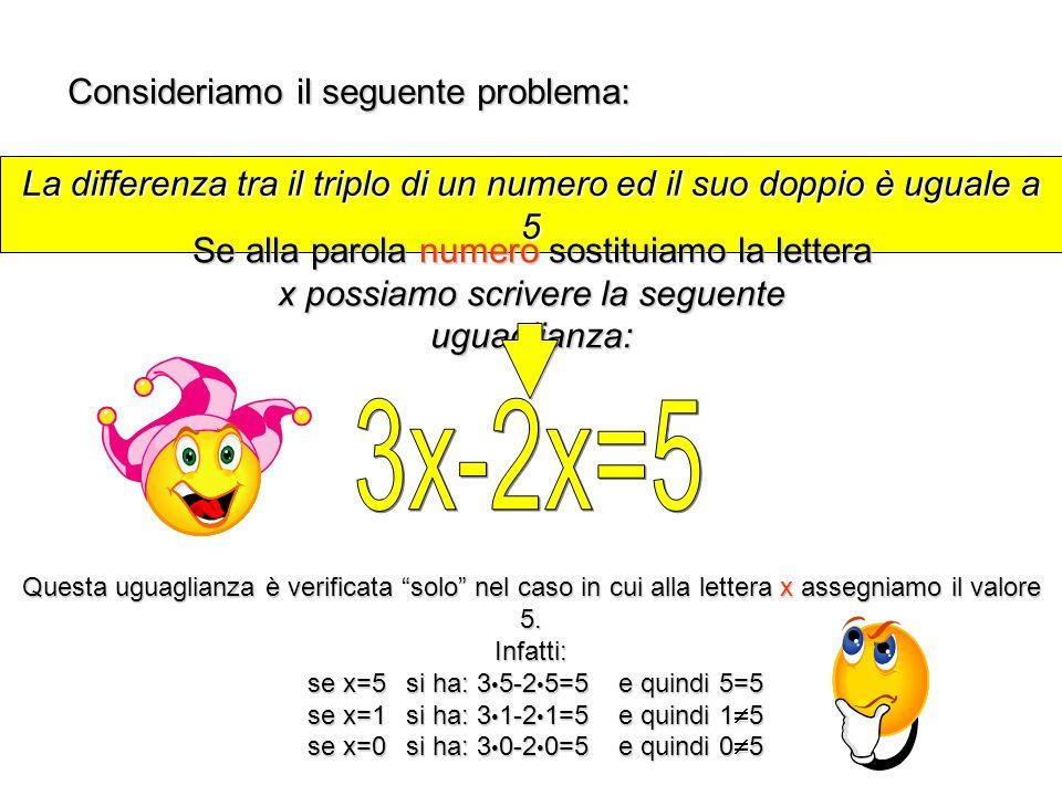 3x-2x=5 Consideriamo il seguente problema: