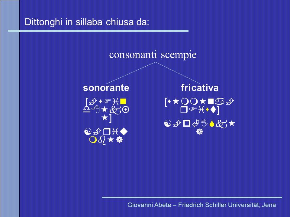 consonanti scempie Dittonghi in sillaba chiusa da: sonorante