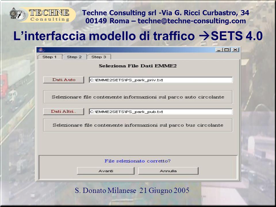 L'interfaccia modello di traffico SETS 4.0