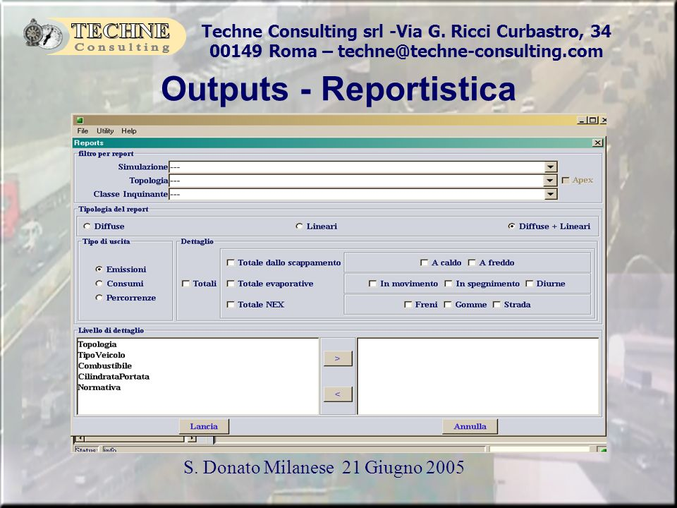 Outputs - Reportistica