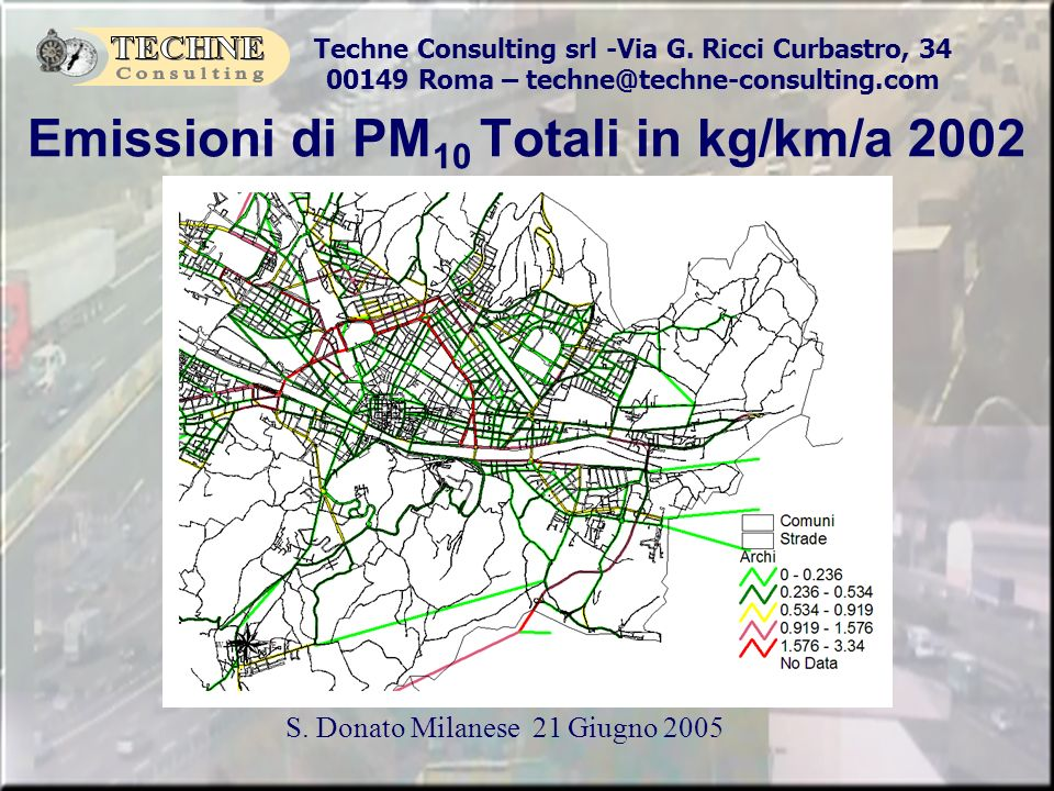 Emissioni di PM10 Totali in kg/km/a 2002