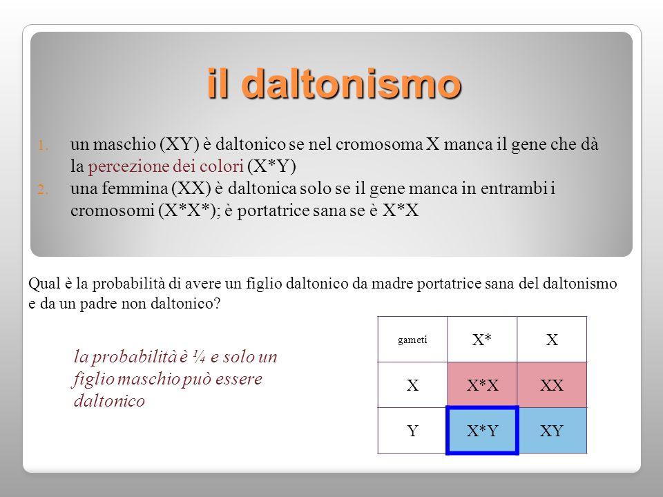 il daltonismo un maschio (XY) è daltonico se nel cromosoma X manca il gene che dà la percezione dei colori (X*Y)