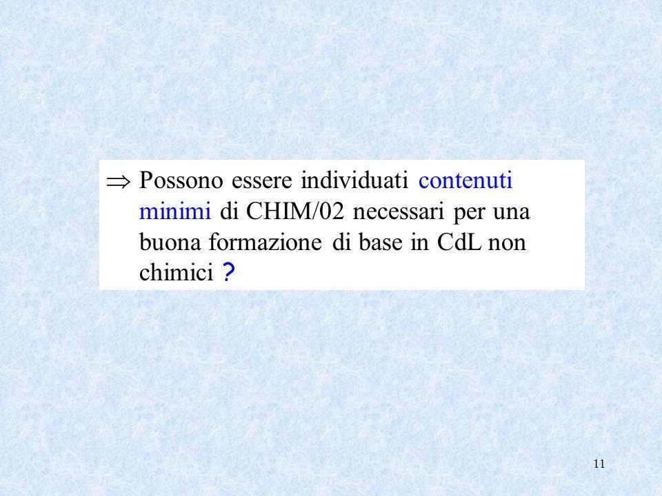 Possono essere individuati contenuti minimi di CHIM/02 necessari per una buona formazione di base in CdL non chimici