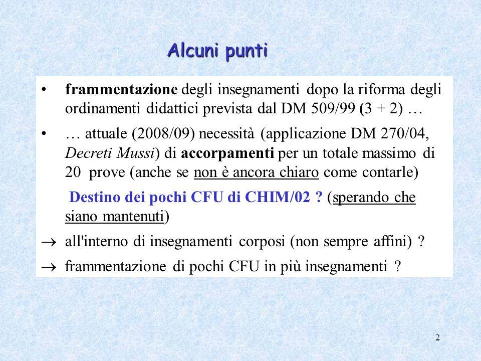 Alcuni punti frammentazione degli insegnamenti dopo la riforma degli ordinamenti didattici prevista dal DM 509/99 (3 + 2) …