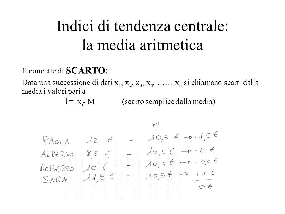 Indici di tendenza centrale: la media aritmetica