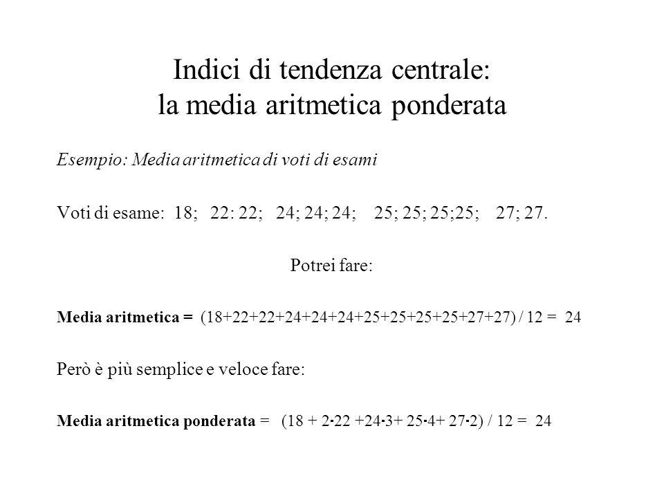 Indici di tendenza centrale: la media aritmetica ponderata