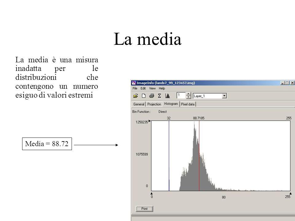 La mediaLa media è una misura inadatta per le distribuzioni che contengono un numero esiguo di valori estremi.