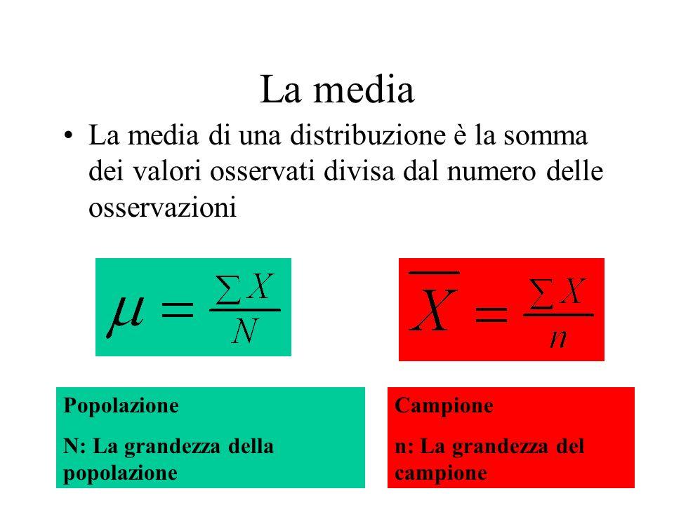 La media La media di una distribuzione è la somma dei valori osservati divisa dal numero delle osservazioni.