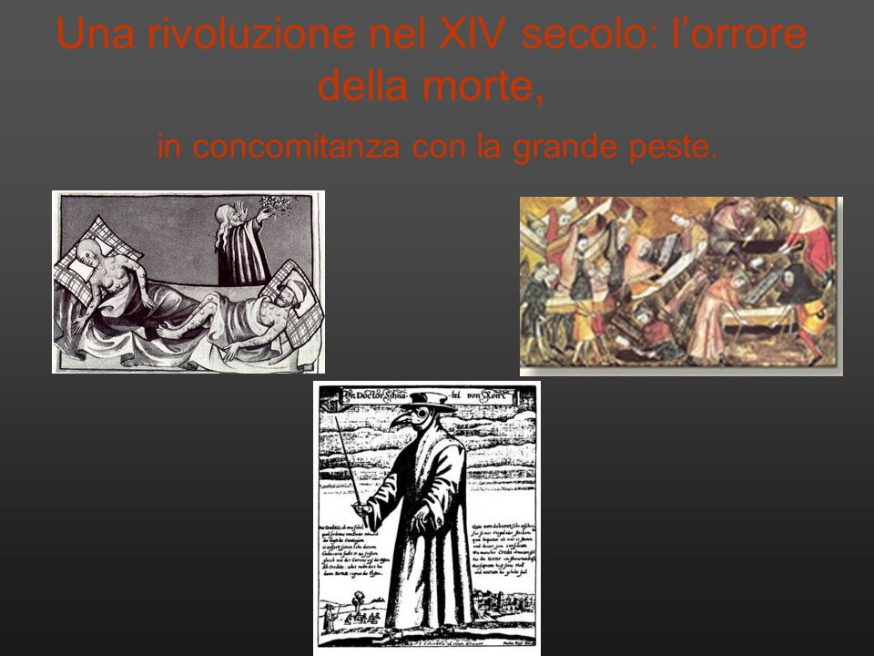 Una rivoluzione nel XIV secolo: l'orrore della morte, in concomitanza con la grande peste.