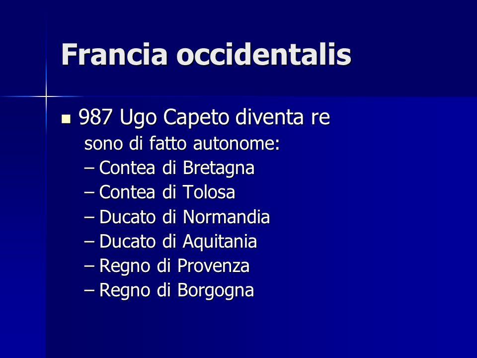 Francia occidentalis 987 Ugo Capeto diventa re sono di fatto autonome: