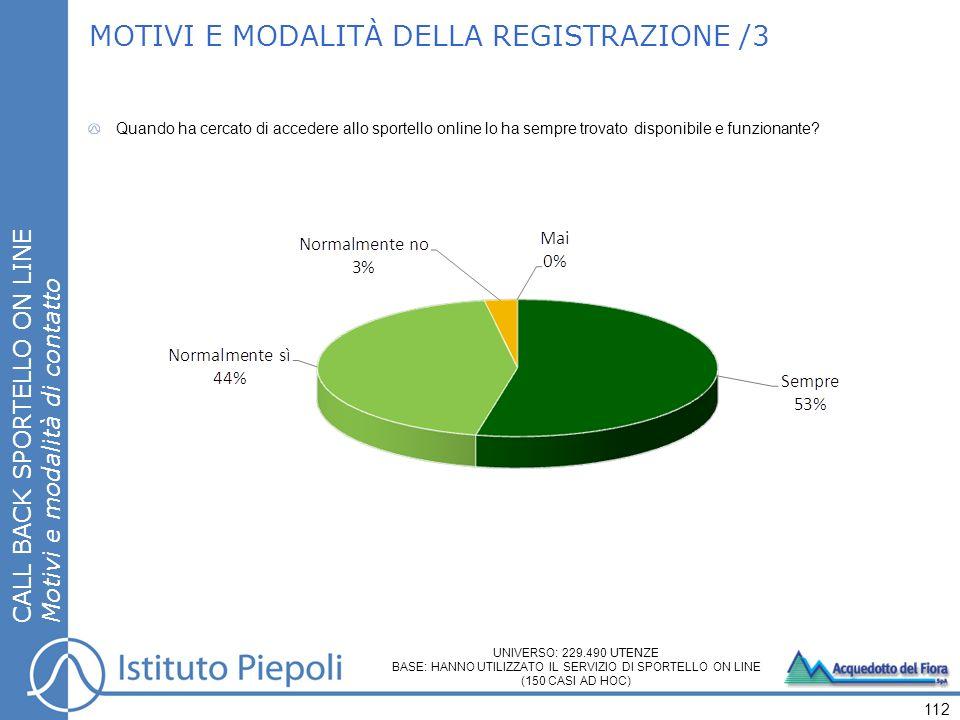 MOTIVI E MODALITÀ DELLA REGISTRAZIONE /3