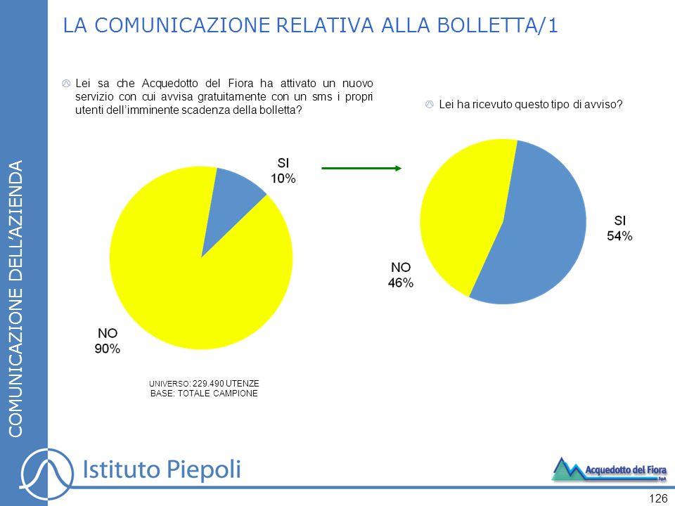LA COMUNICAZIONE RELATIVA ALLA BOLLETTA/1