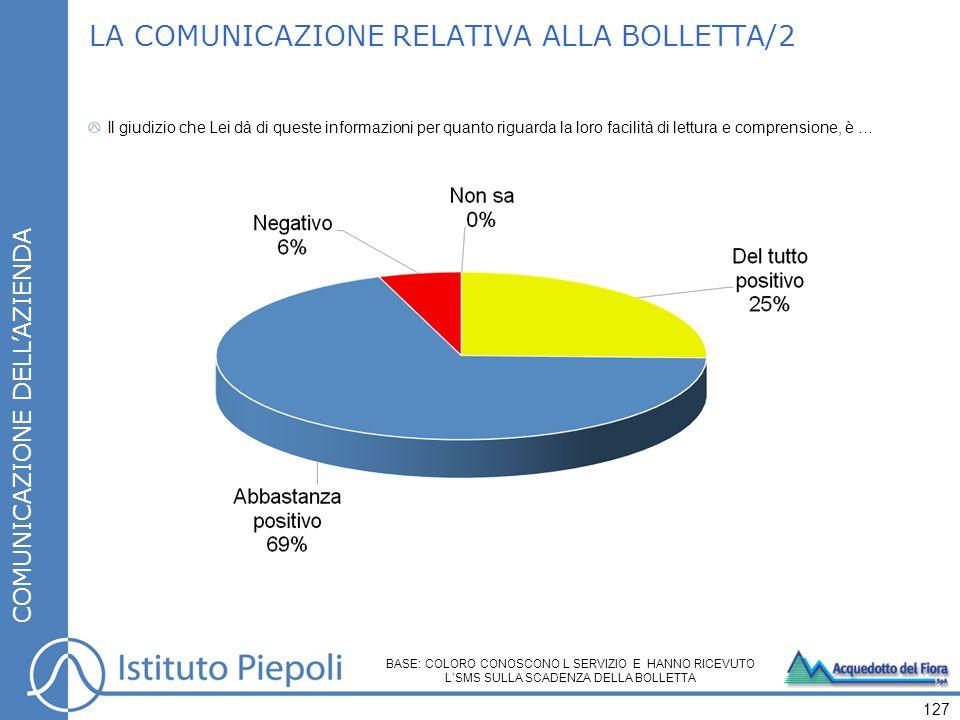 LA COMUNICAZIONE RELATIVA ALLA BOLLETTA/2