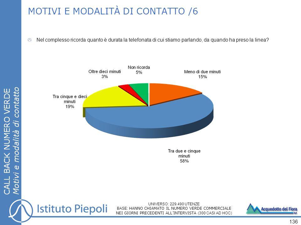 MOTIVI E MODALITÀ DI CONTATTO /6