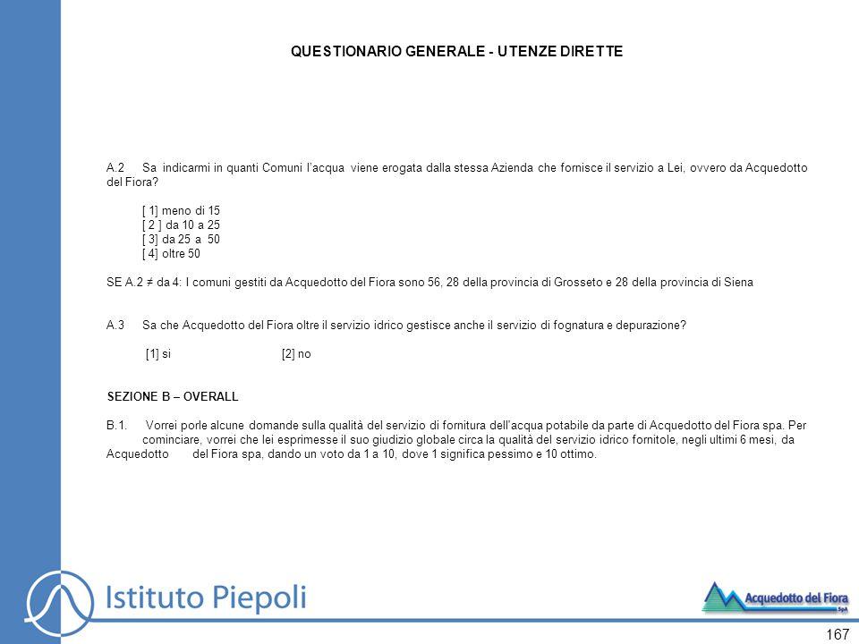 QUESTIONARIO GENERALE - UTENZE DIRETTE