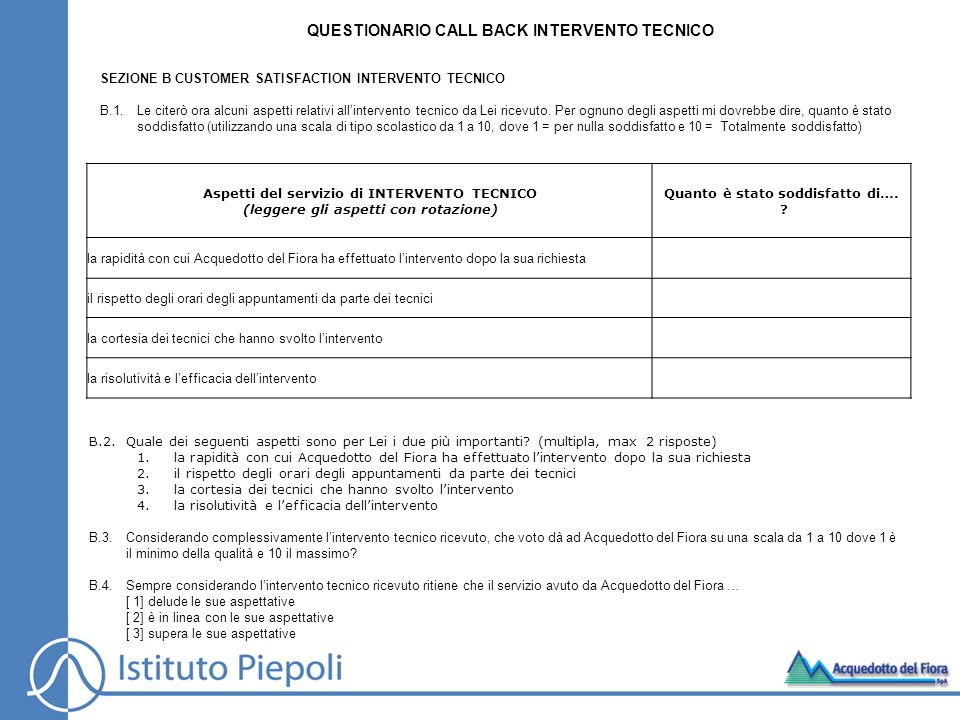 QUESTIONARIO CALL BACK INTERVENTO TECNICO