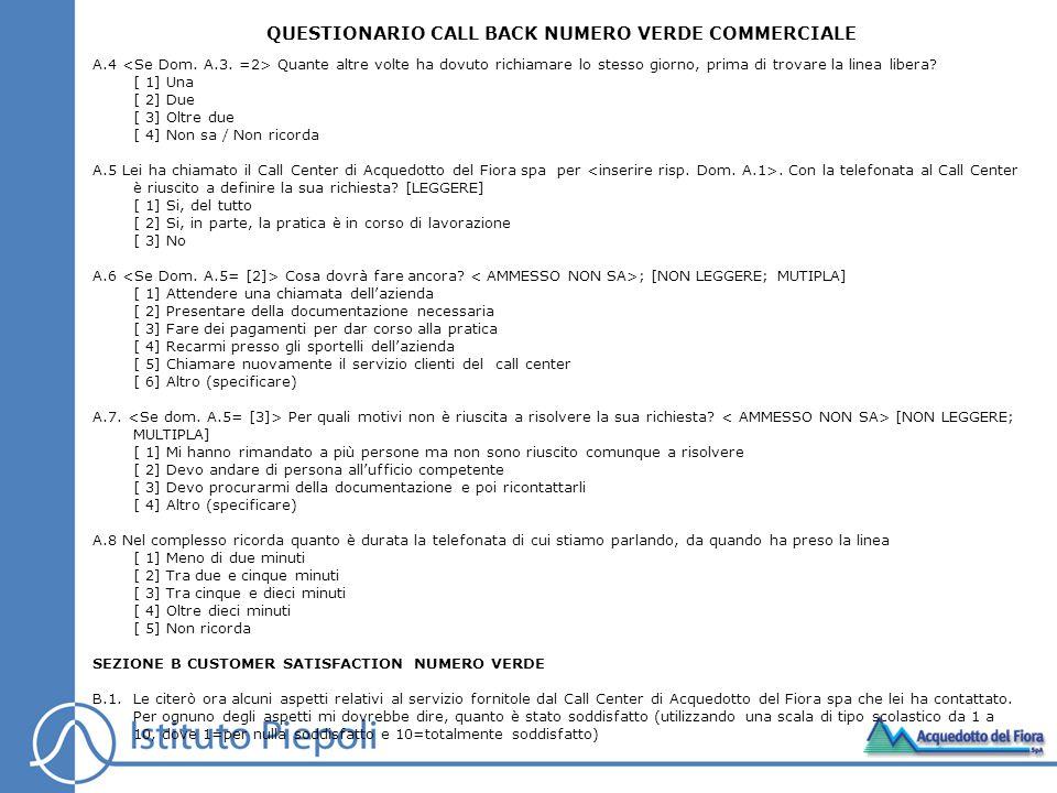 QUESTIONARIO CALL BACK NUMERO VERDE COMMERCIALE