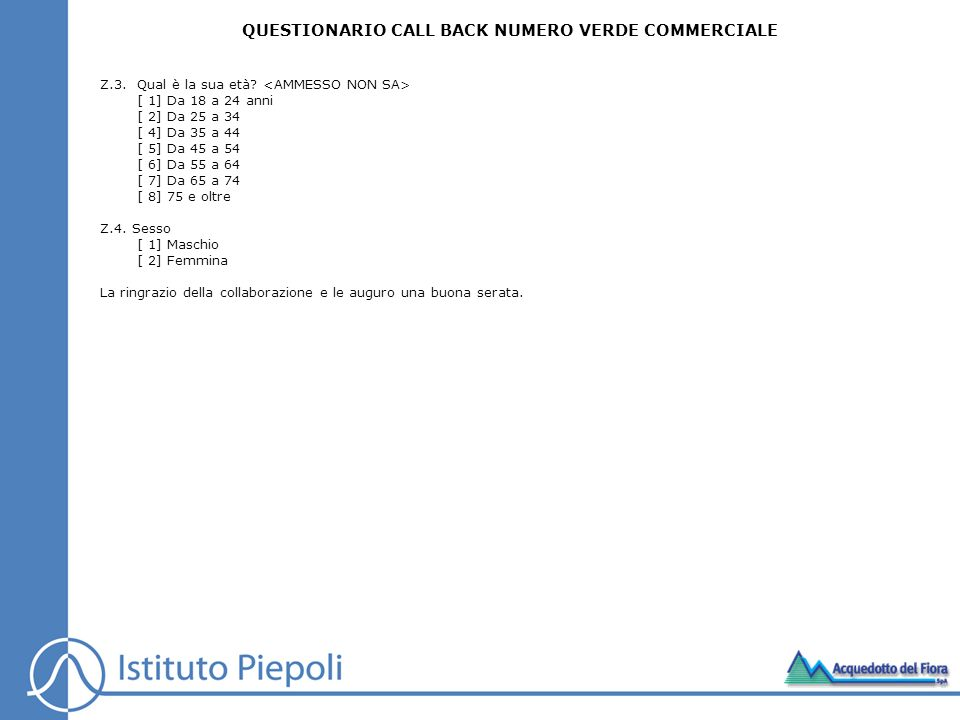 QUESTIONARIO CALL BACK NUMERO VERDE COMMERCIALE
