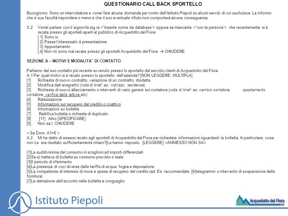 QUESTIONARIO CALL BACK SPORTELLO