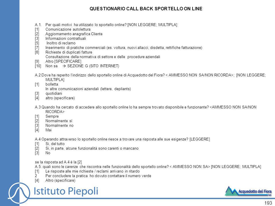 QUESTIONARIO CALL BACK SPORTELLO ON LINE
