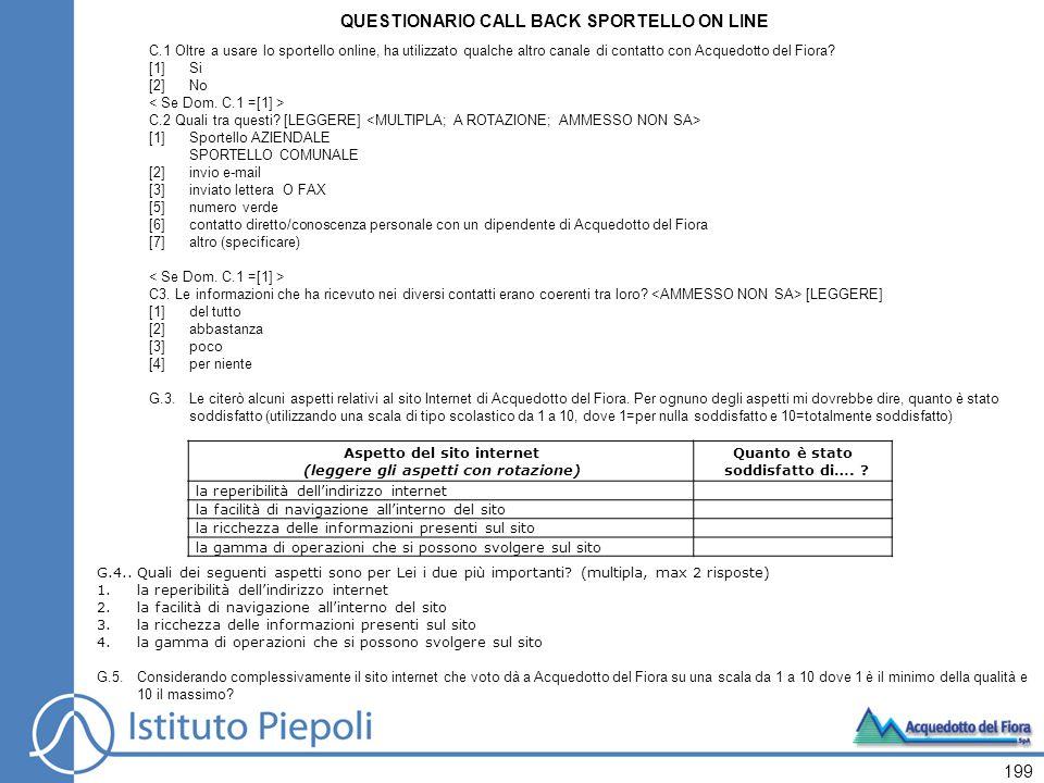 QUESTIONARIO CALL BACK SPORTELLO ON LINE