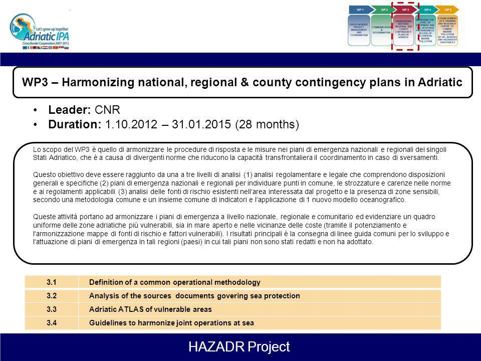 WP3 – Harmonizing national, regional & county contingency plans in Adriatic