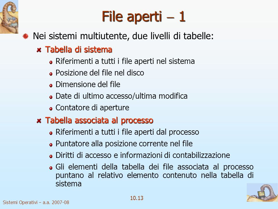 File aperti  1 Nei sistemi multiutente, due livelli di tabelle: