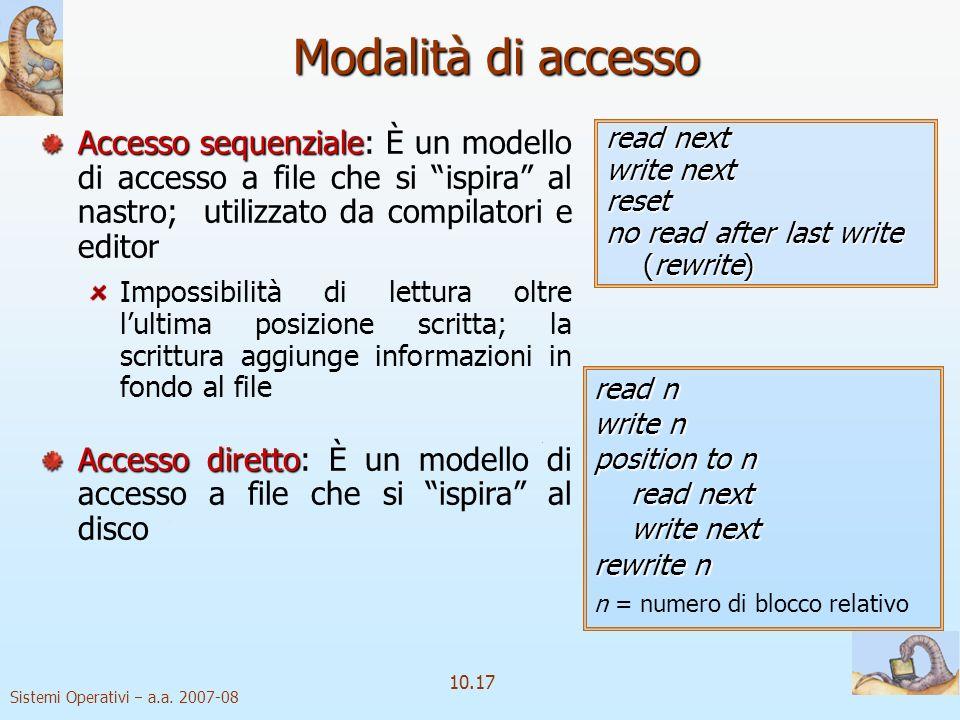 Modalità di accesso Accesso sequenziale: È un modello di accesso a file che si ispira al nastro; utilizzato da compilatori e editor.