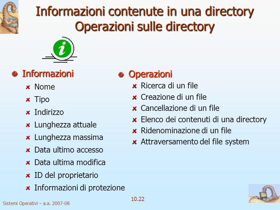 Informazioni contenute in una directory Operazioni sulle directory