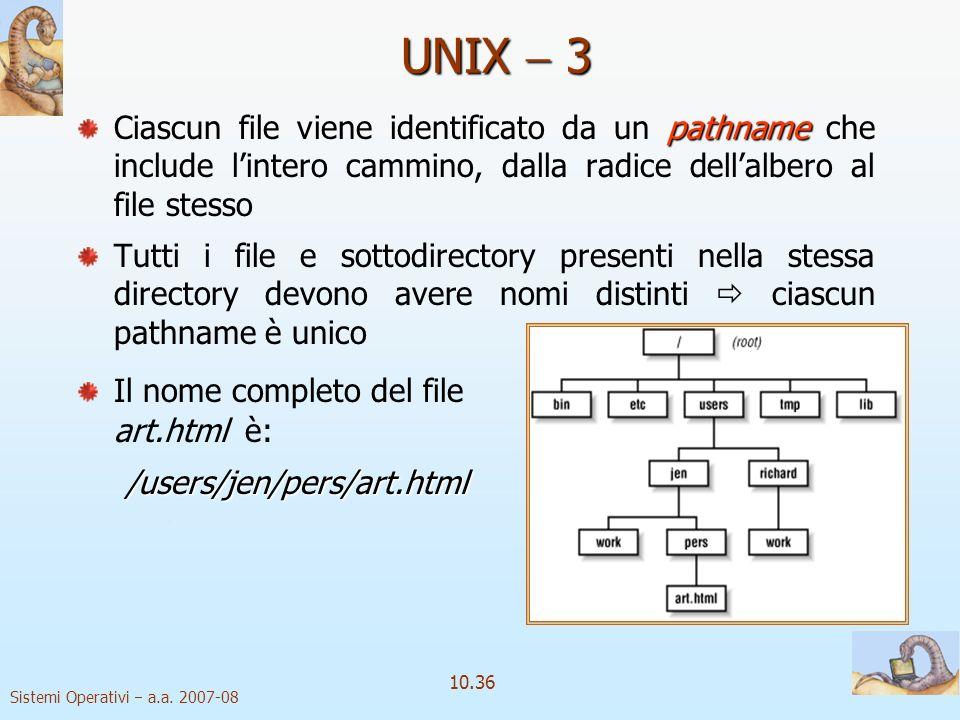 UNIX  3 Ciascun file viene identificato da un pathname che include l'intero cammino, dalla radice dell'albero al file stesso.