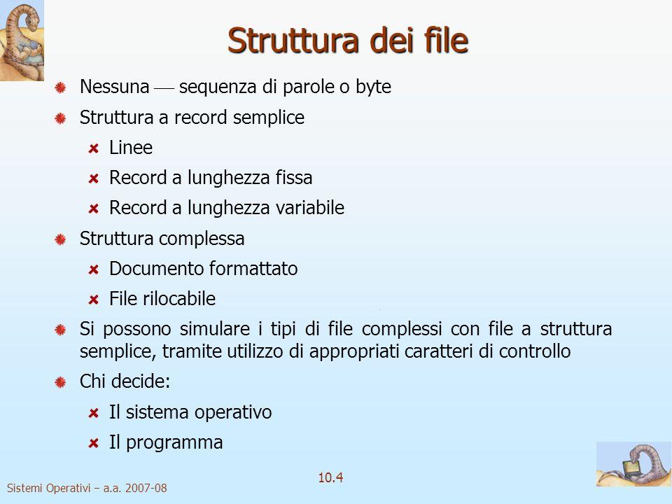 Struttura dei file Nessuna  sequenza di parole o byte