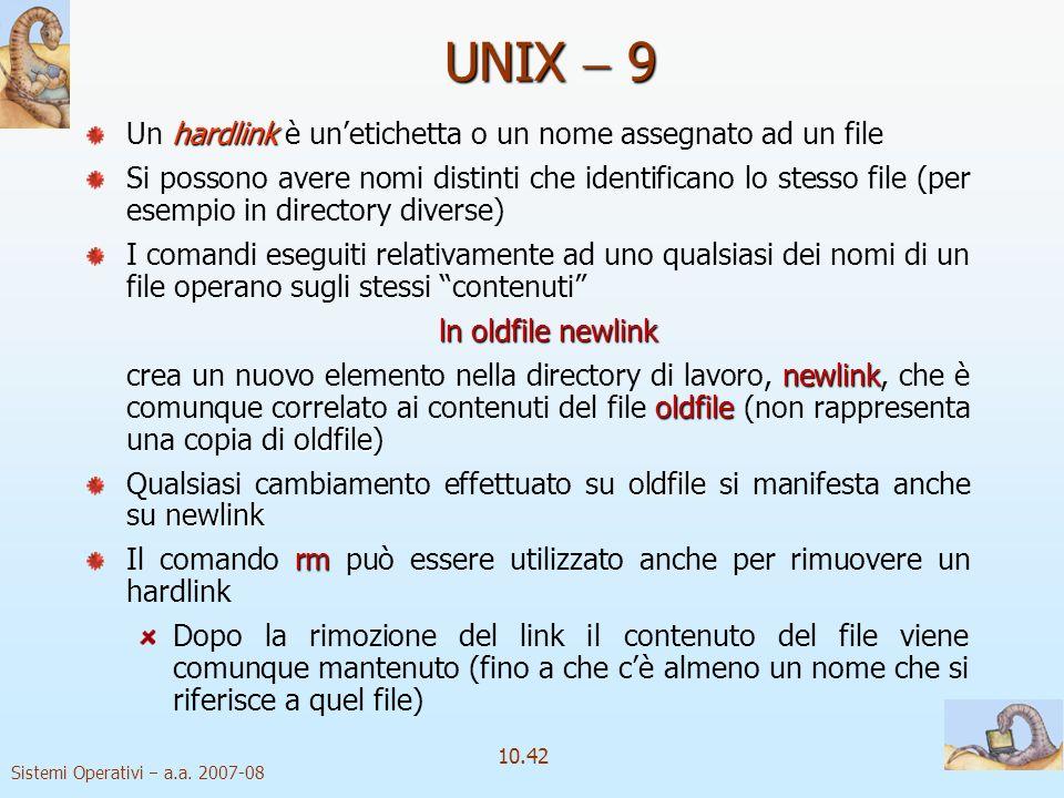 UNIX  9 Un hardlink è un'etichetta o un nome assegnato ad un file