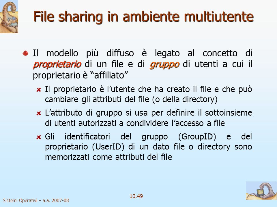 File sharing in ambiente multiutente