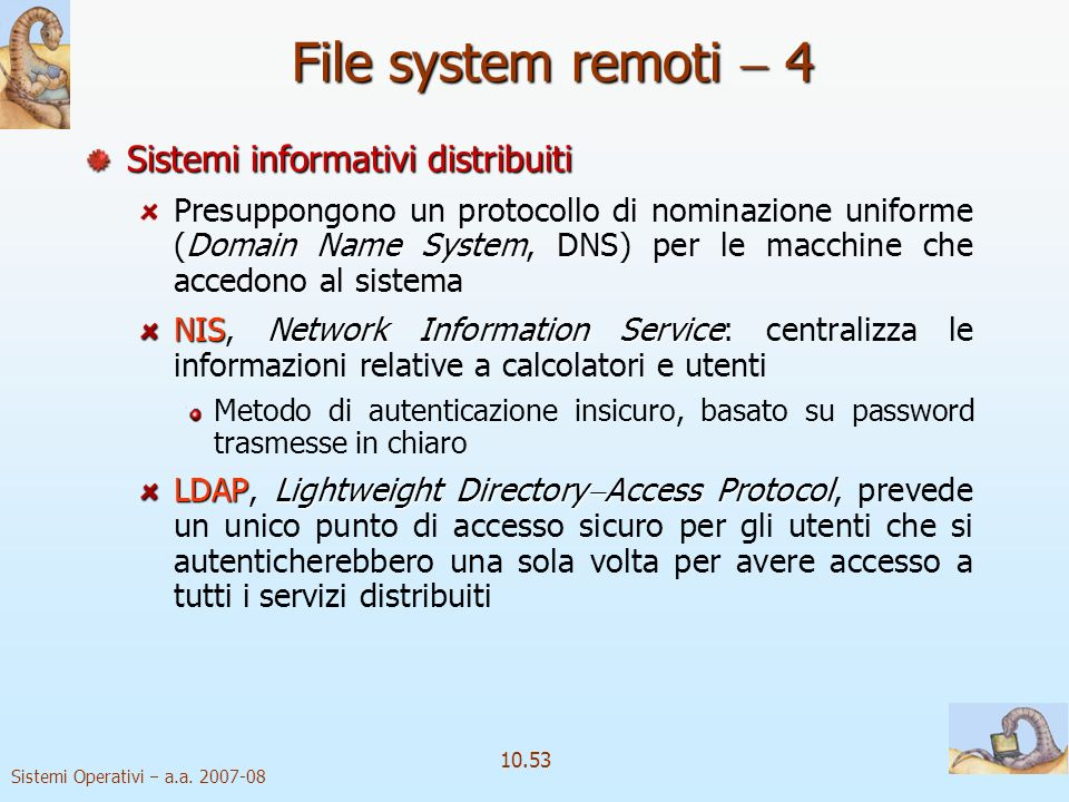 File system remoti  4 Sistemi informativi distribuiti