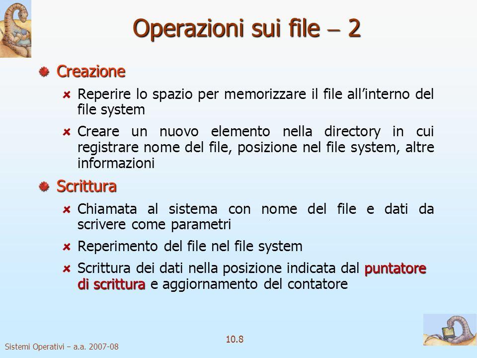 Operazioni sui file  2 Creazione Scrittura
