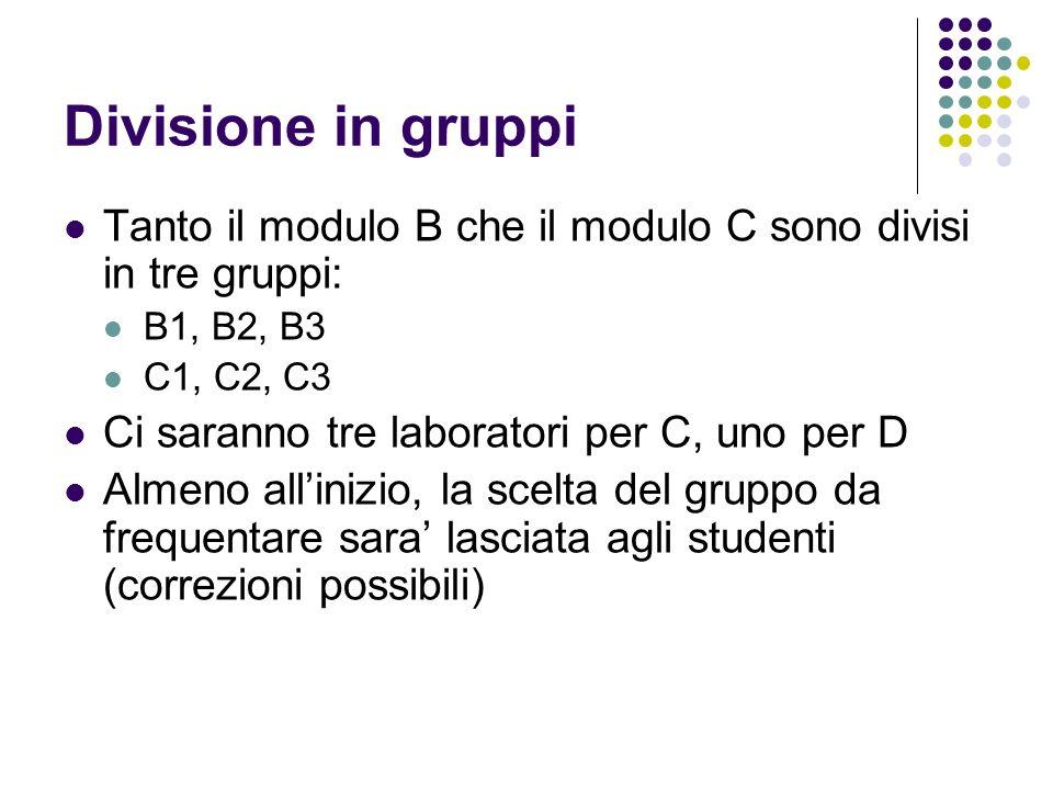 Divisione in gruppi Tanto il modulo B che il modulo C sono divisi in tre gruppi: B1, B2, B3. C1, C2, C3.