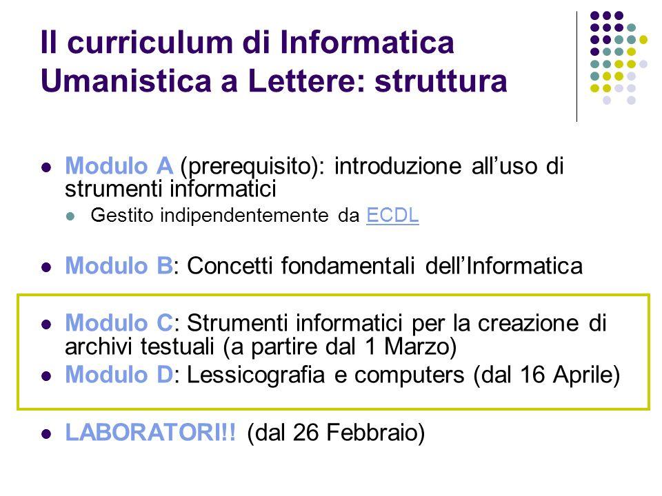 Il curriculum di Informatica Umanistica a Lettere: struttura