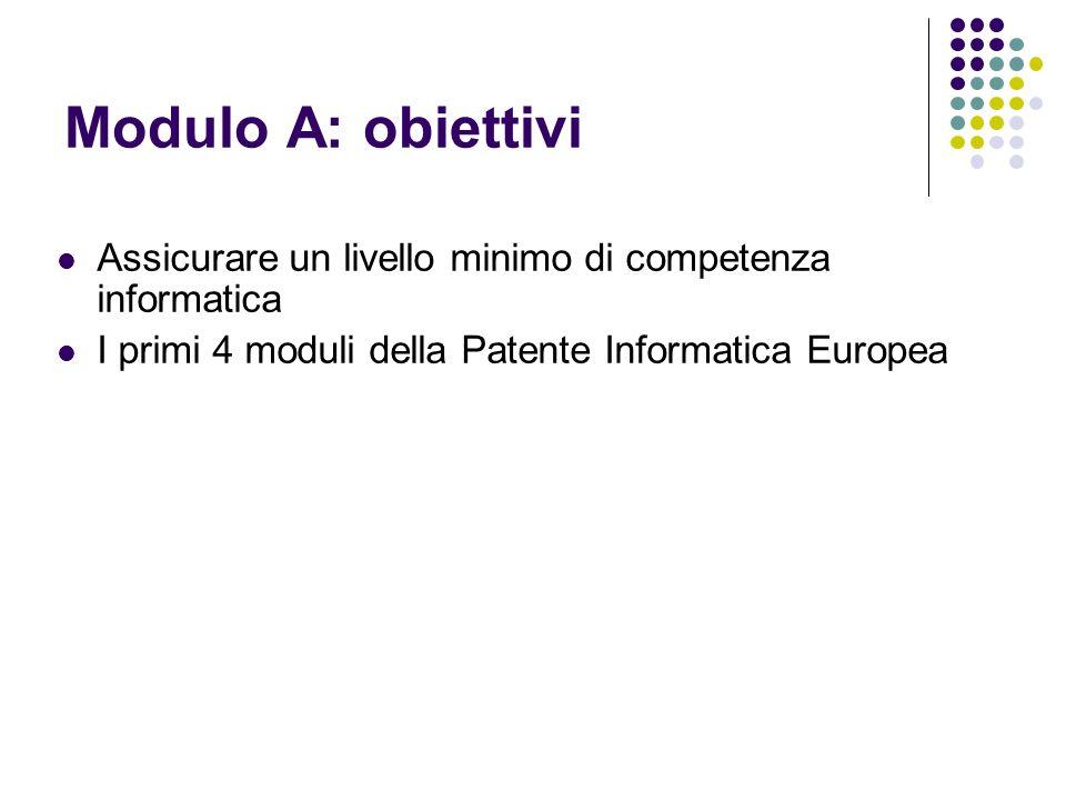 Modulo A: obiettivi Assicurare un livello minimo di competenza informatica.