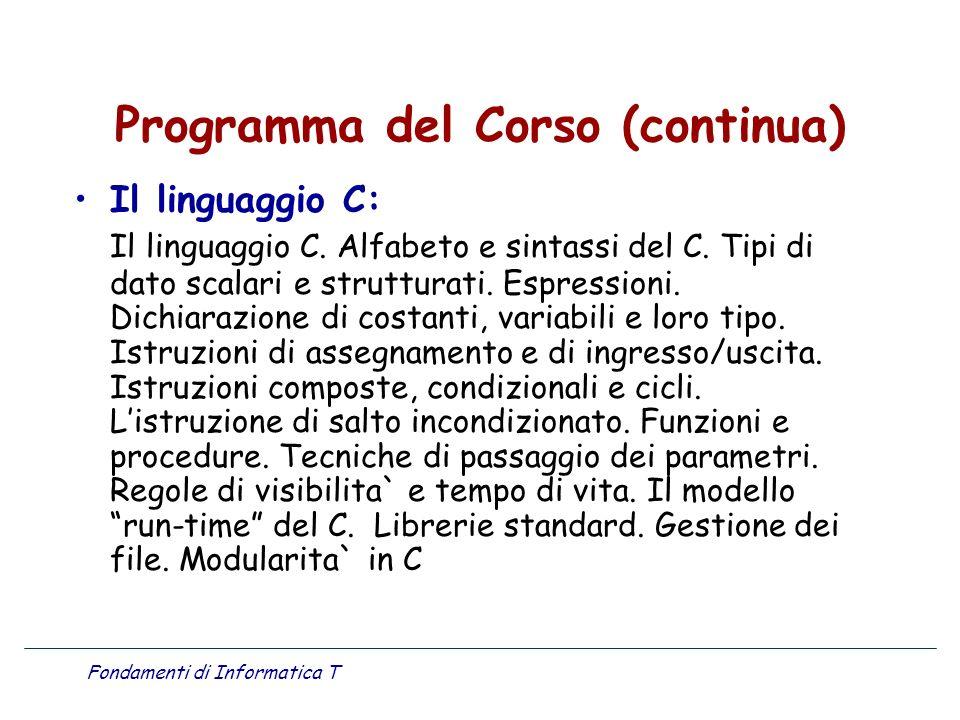Programma del Corso (continua)