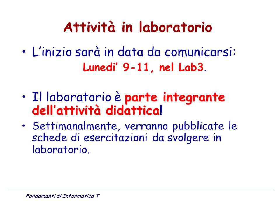 Attività in laboratorio