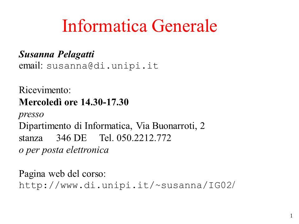 Informatica Generale Susanna Pelagatti