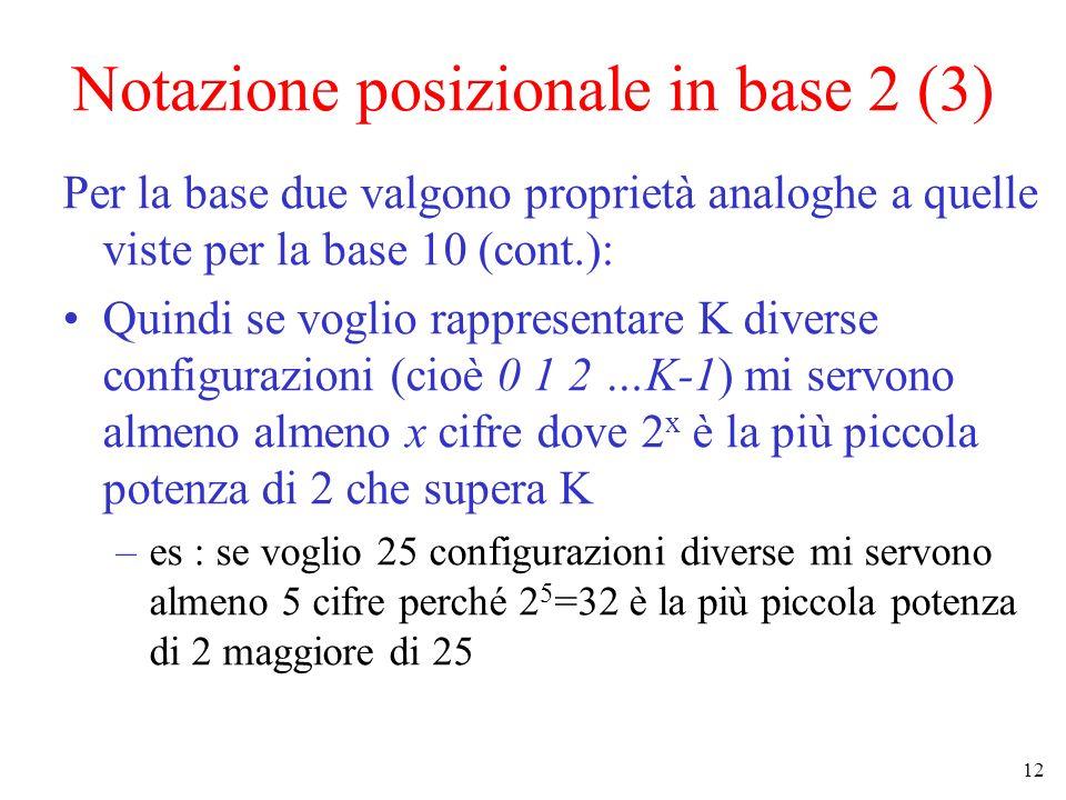 Notazione posizionale in base 2 (3)